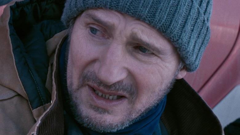Liam Neeson Mike beanie worried