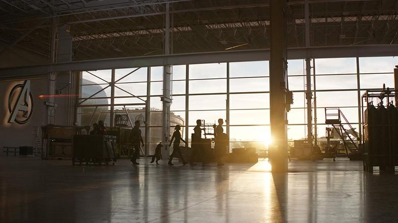 Avengers walking against the sunset