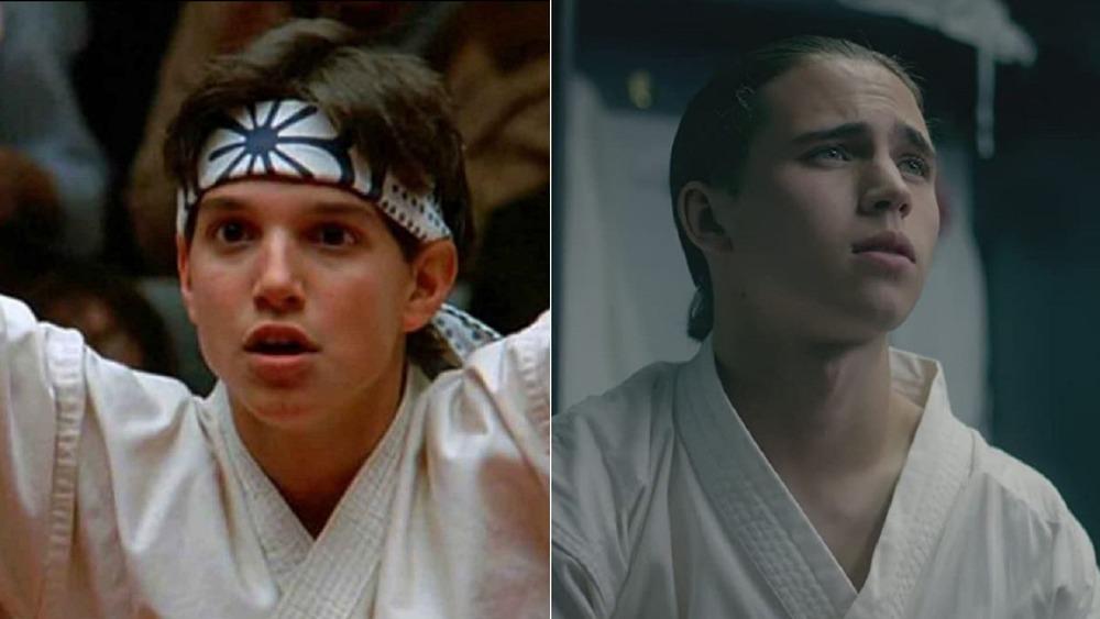 Ralph Macchio as Daniel LaRusso in The Karate Kid, Tanner Buchanan as Robby Keene on Cobra Kai