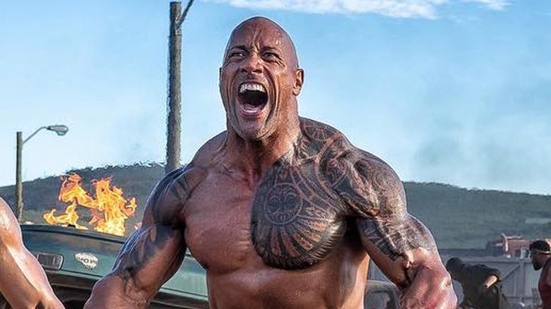 "Dwayne ""The Rock"" Johnson yelling Hobbs and Shaw set"