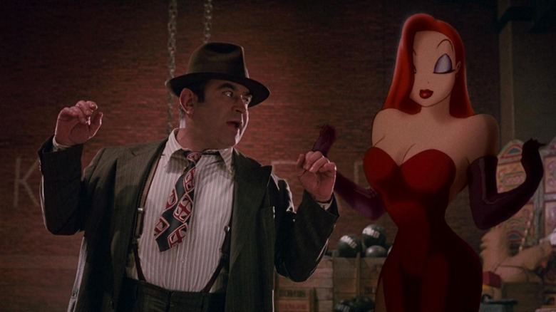 Bob Hoskins as Eddie Valiant with Jessica Rabbit in Who Framed Roger Rabbit