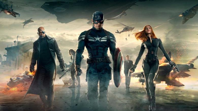 The cast of Captain America: The Winter Soldier in original promo art