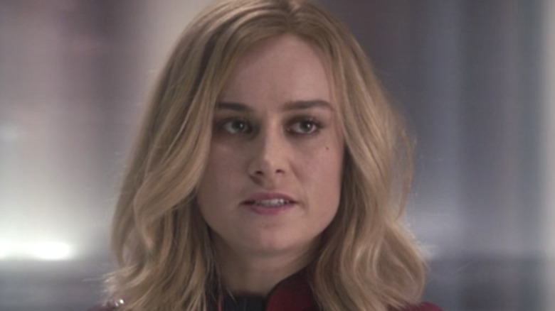 Captain Marvel with long blond bob