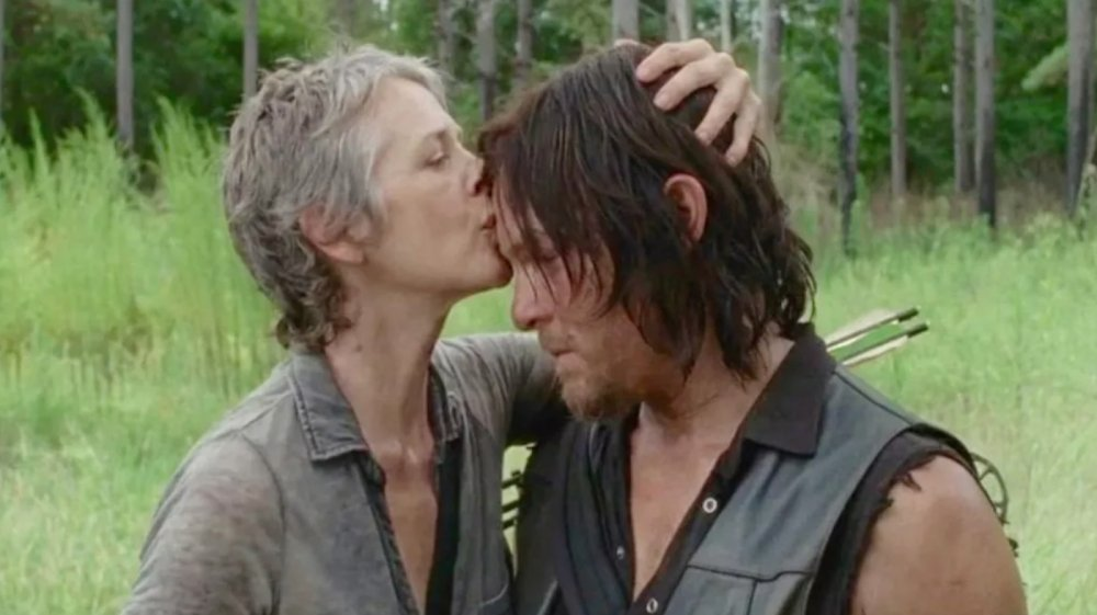 Daryl (Norman Reedus) and Carol (Melissa McBride) share a quiet moment on The Walking Dead