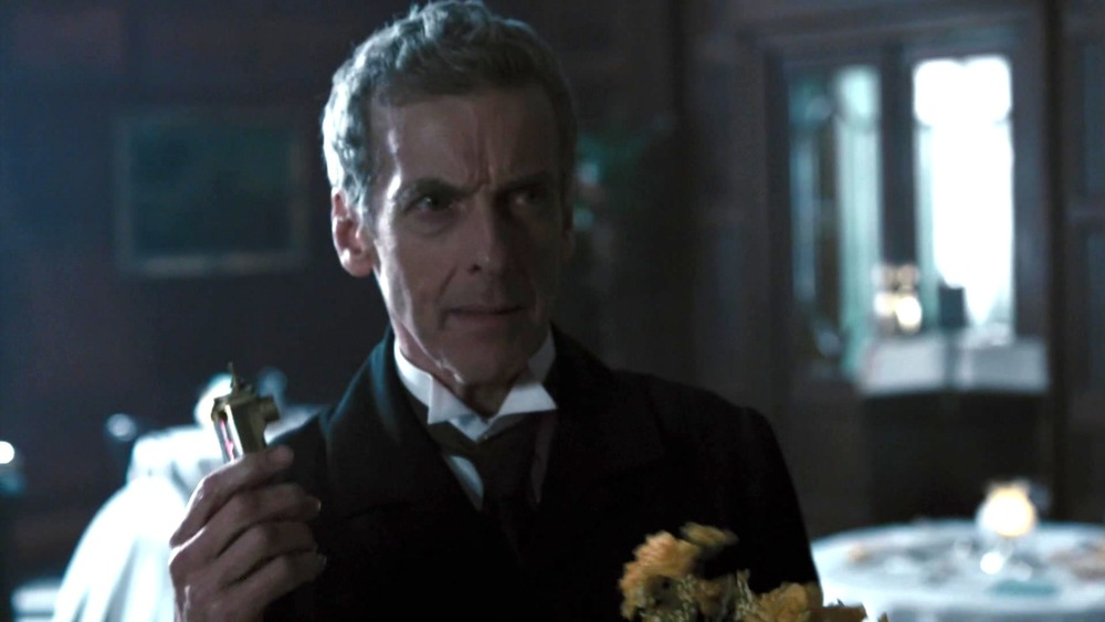 Peter Capaldi glowers as the Doctor on Doctor Who