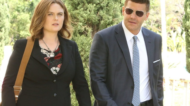 Emily Deschanel as Dr. Brennan and David Boreanaz as Seeley Booth on Fox's Bones