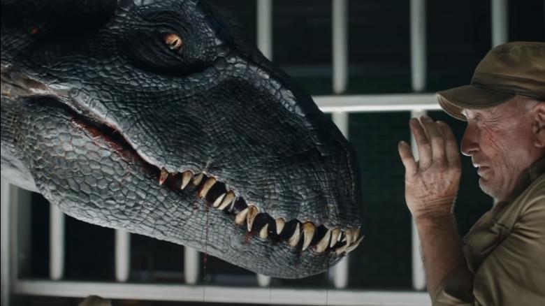 Ted Levine and the Indoraptor in Jurassic World: Fallen Kingdom