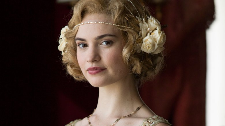 Lily James as Lady Rose on Downton Abbey