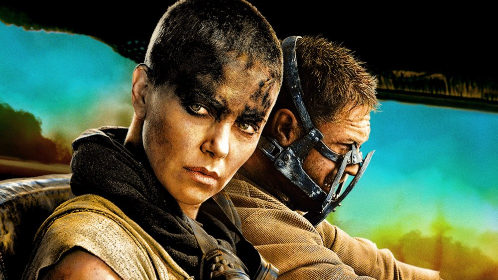 Charlize Theron as Furiosa and Tom Hardy as Max in Mad Max: Fury Road poster