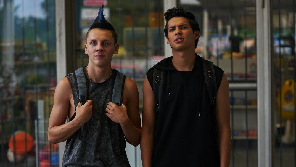Jacob Bertrand as Hawk and Xolo Maridueña as Miguel on Netflix's Cobra Kai