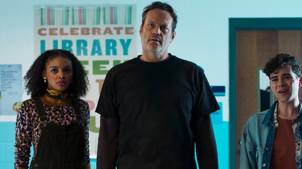 Celeste O'Connor, Vince Vaughn, and Misha Osherovich in Freaky