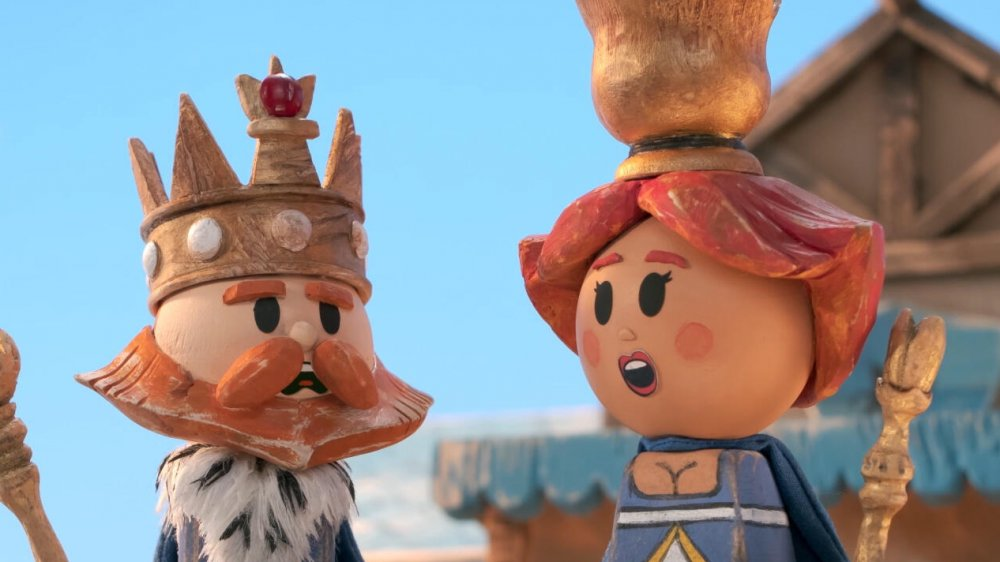 Luke Evans as King Merriman (voice) and Alanna Ubach as Queen Tulip (voice) on Crossing Swords