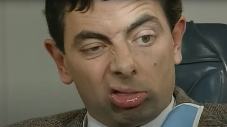 Mister Bean grimacing