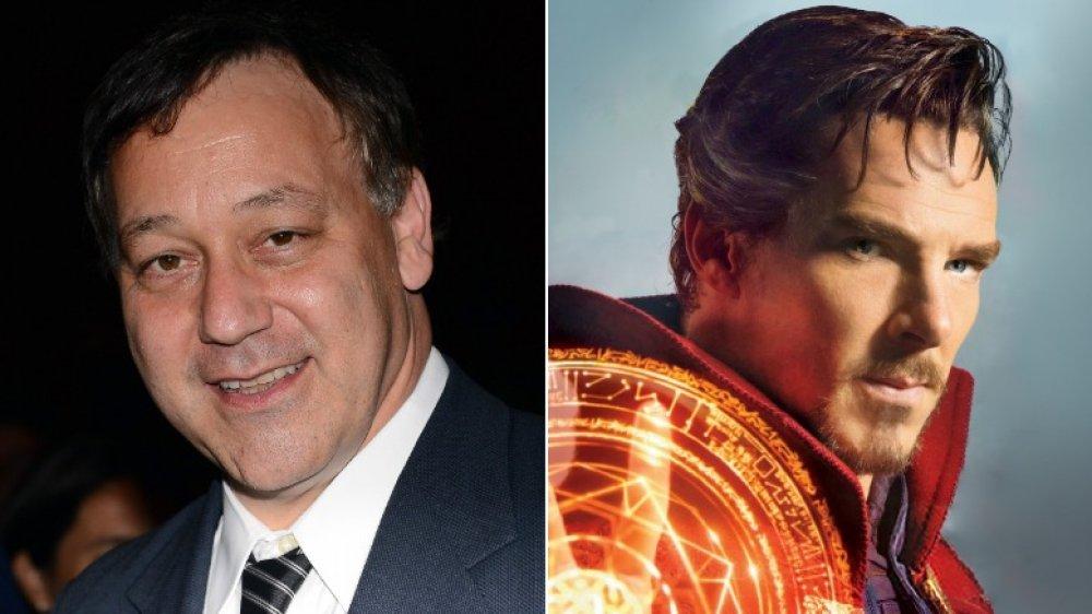 Sam Raimi and Benedict Cumberbatch as Doctor Strange