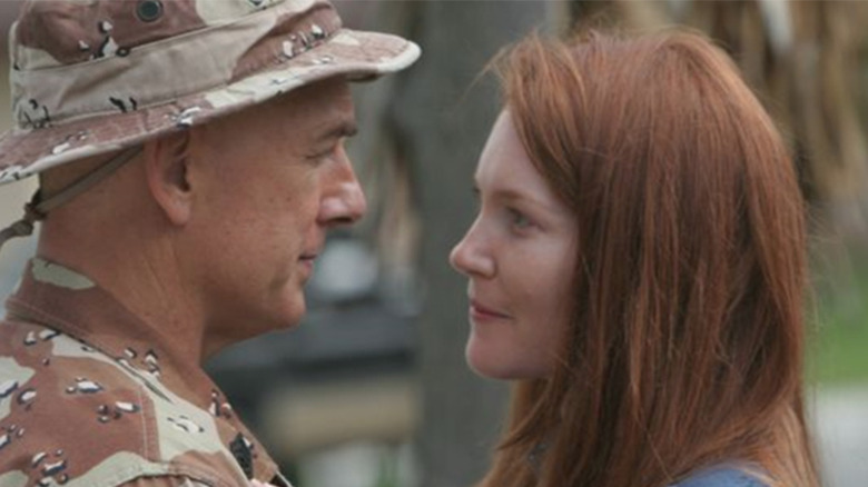 Mark Harmon as Leroy Jethro Gibbs and Darby Stanchfield as his wife Shannon on NCIS