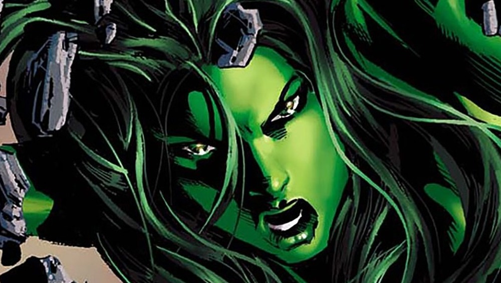 She-Hulk busting through a wall
