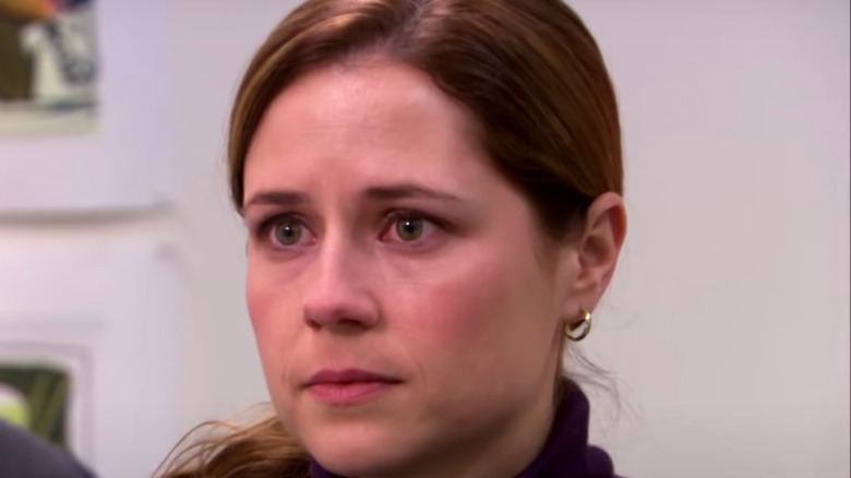 Pam Beesly tearing up