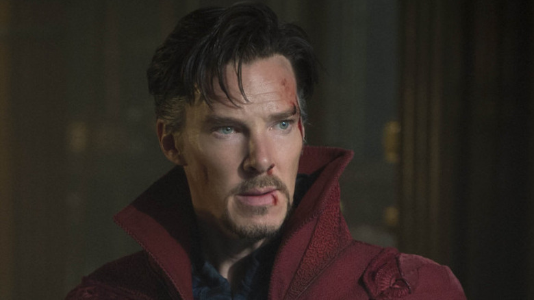 Benedict Cumberbatch as Doctor Strange with blood on face