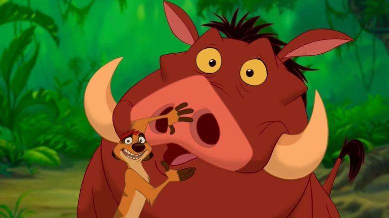 Pumbaa (voiced by Ernie Sabella) and Timon (voiced by Nathan Lane) in The Lion King