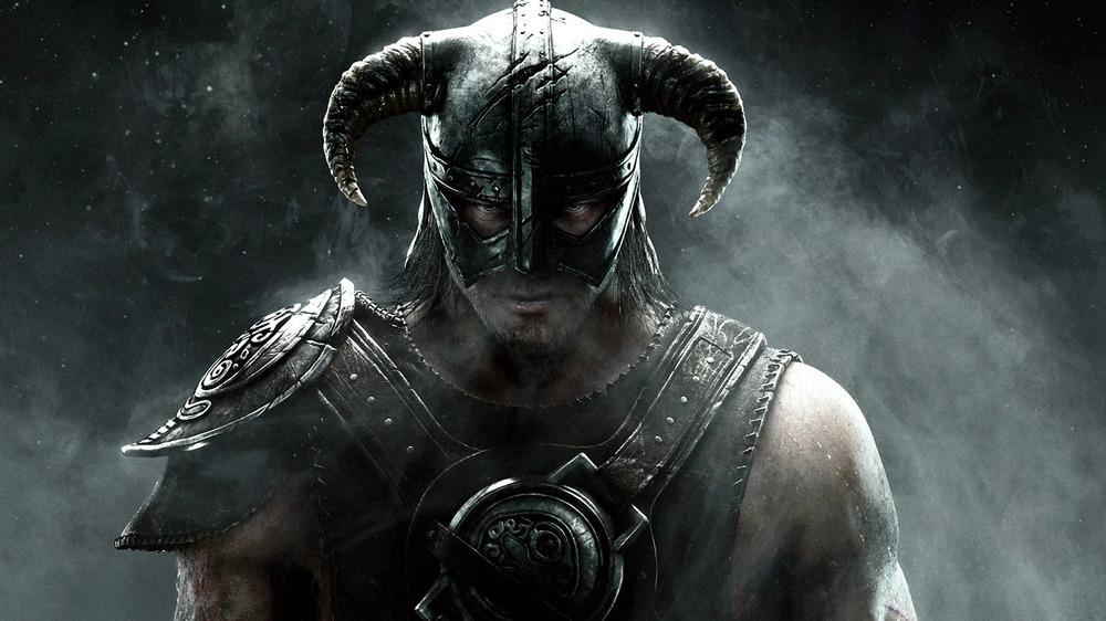 Skyrim character wearing horned armor