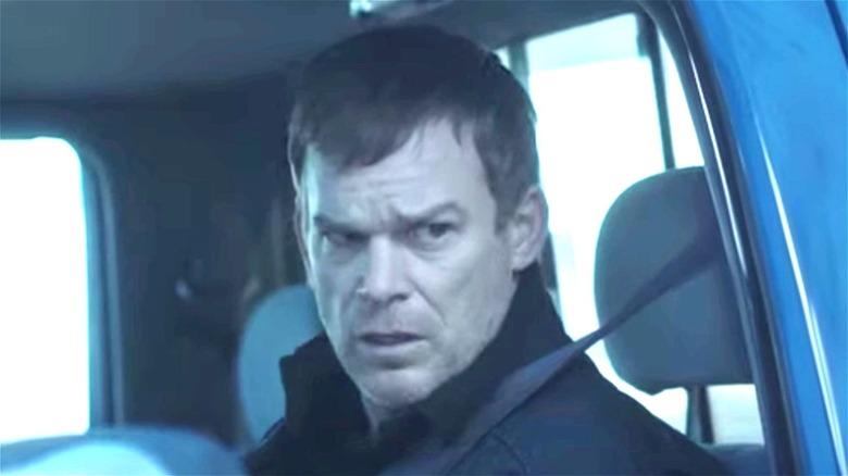 Dexter Morgan wearing a seatbelt