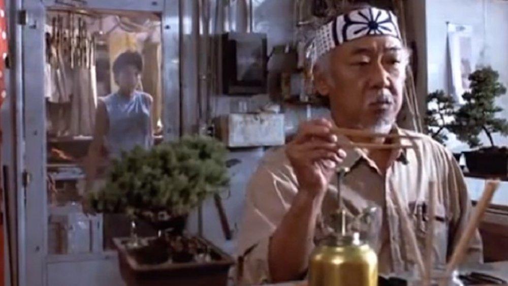 Ralph Macchio as Daniel LaRusso and Pat Morita as Mr. Miyagi in The Karate Kid