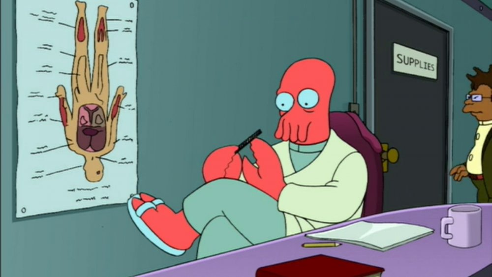 Zoidberg and Hermes from Comedy Central's Futurama