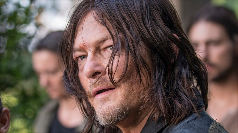 Daryl with mouth open on The Walking Dead
