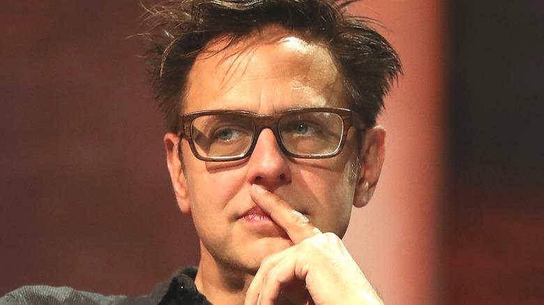 James Gunn glasses pondering