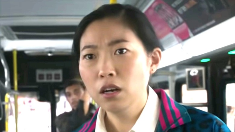 Awkwafina on a bus
