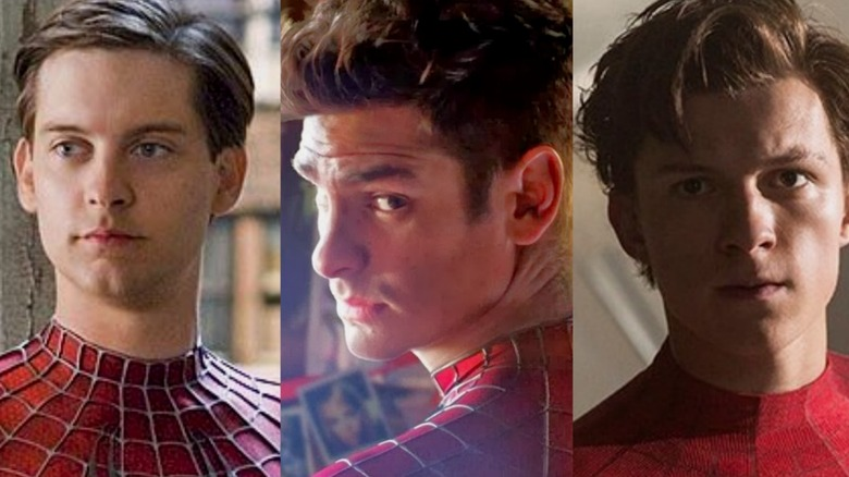 Tobey Maguire, Andrew Garfield, and Tom Holland as Peter Parker/Spider-Man