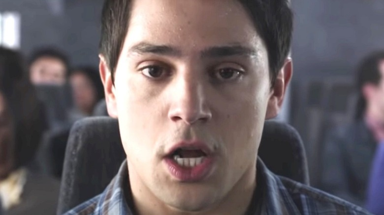 Close up of Nicholas D'Agosto on plane in 'Final Destination'