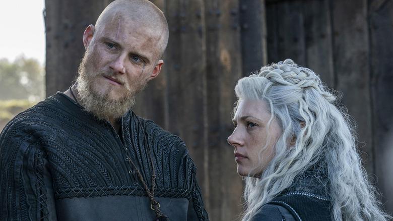 Alexander Ludwig as Bjorn Ironside and Katheryn Winnick as Lagertha on Vikings
