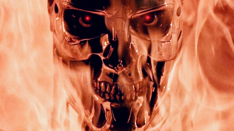 Terminator face with flames around