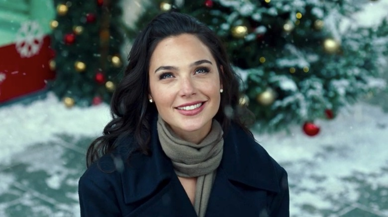 Diana Prince smiling in snow looking up