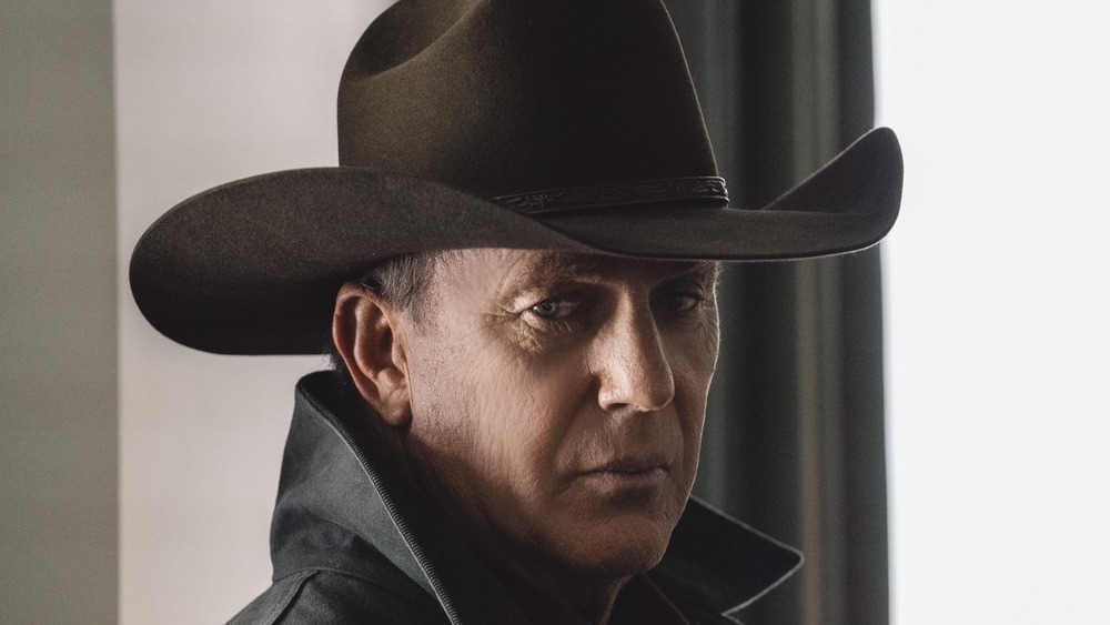 Kevin Costner wearing a hat on Yellowstone