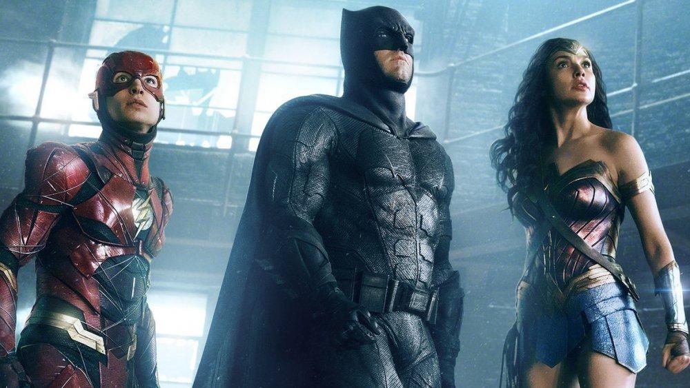 Ezra Miller as the Flash, Ben Affleck as Batman, and Gal Gadot as Wonder Woman in Justice League